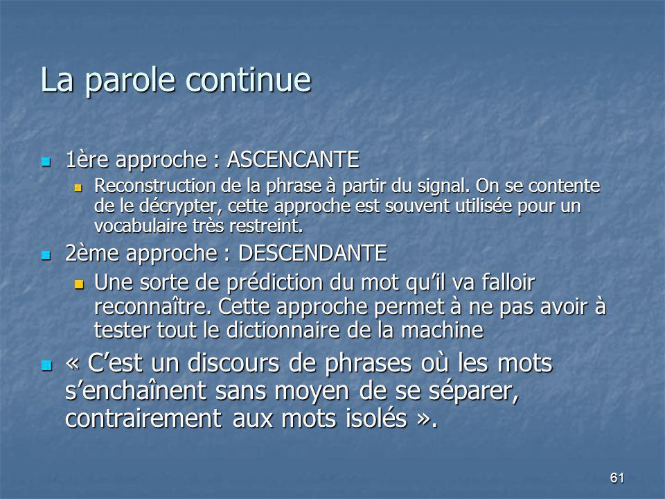 61 La parole continue 1ère approche : ASCENCANTE 1ère approche : ASCENCANTE Reconstruction de la phrase à partir du signal.