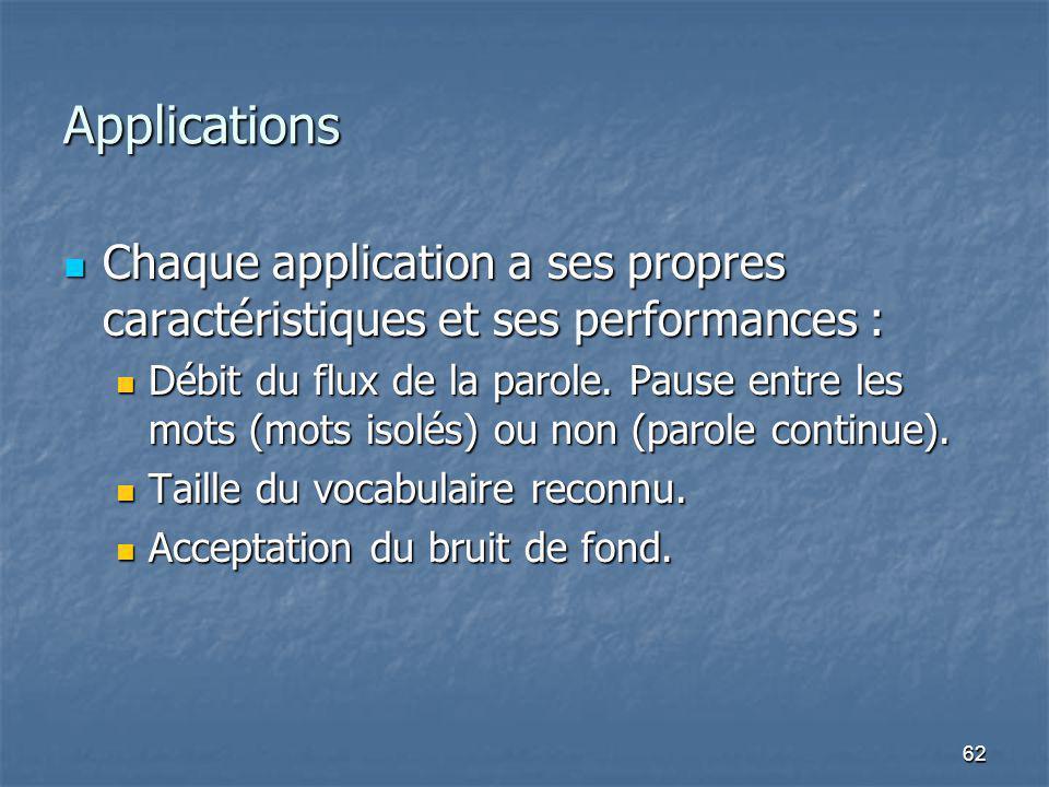 62 Applications Chaque application a ses propres caractéristiques et ses performances : Chaque application a ses propres caractéristiques et ses performances : Débit du flux de la parole.