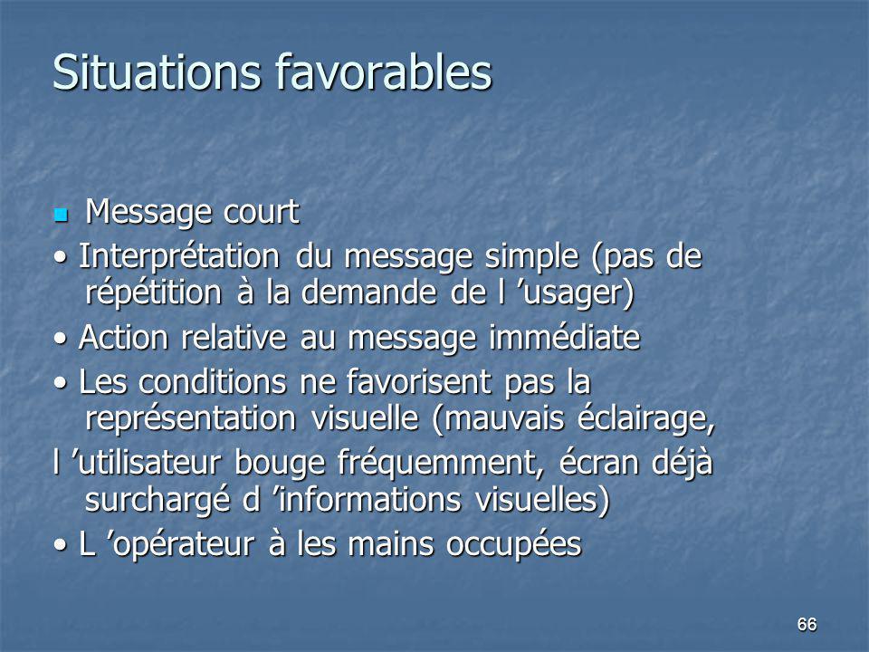 66 Situations favorables Message court Message court Interprétation du message simple (pas de répétition à la demande de l usager) Interprétation du m