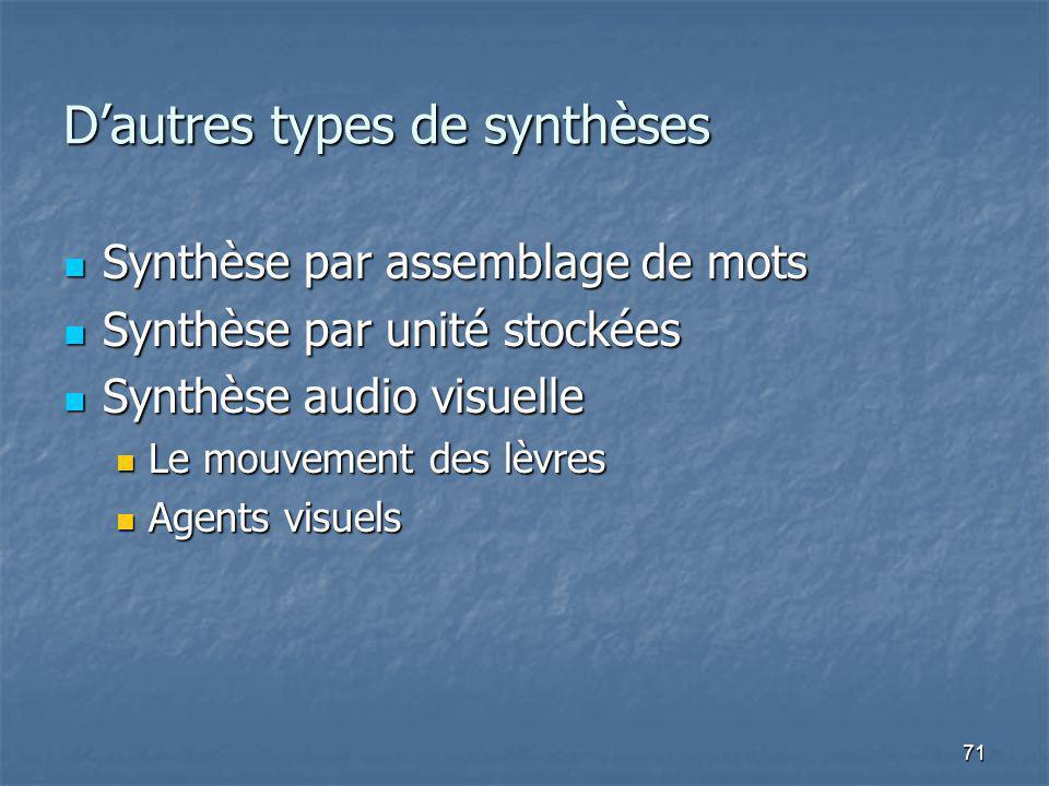 71 Dautres types de synthèses Synthèse par assemblage de mots Synthèse par assemblage de mots Synthèse par unité stockées Synthèse par unité stockées Synthèse audio visuelle Synthèse audio visuelle Le mouvement des lèvres Le mouvement des lèvres Agents visuels Agents visuels