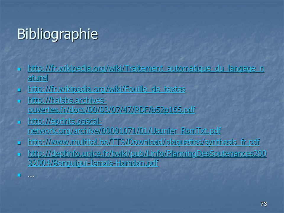 73 Bibliographie http://fr.wikipedia.org/wiki/Traitement_automatique_du_langage_n aturel http://fr.wikipedia.org/wiki/Traitement_automatique_du_langage_n aturel http://fr.wikipedia.org/wiki/Traitement_automatique_du_langage_n aturel http://fr.wikipedia.org/wiki/Traitement_automatique_du_langage_n aturel http://fr.wikipedia.org/wiki/Fouille_de_textes http://fr.wikipedia.org/wiki/Fouille_de_textes http://fr.wikipedia.org/wiki/Fouille_de_textes http://halshs.archives- ouvertes.fr/docs/00/03/07/47/PDF/b52p165.pdf http://halshs.archives- ouvertes.fr/docs/00/03/07/47/PDF/b52p165.pdf http://halshs.archives- ouvertes.fr/docs/00/03/07/47/PDF/b52p165.pdf http://halshs.archives- ouvertes.fr/docs/00/03/07/47/PDF/b52p165.pdf http://eprints.pascal- network.org/archive/00001071/01/Usunier_RsmTxt.pdf http://eprints.pascal- network.org/archive/00001071/01/Usunier_RsmTxt.pdf http://eprints.pascal- network.org/archive/00001071/01/Usunier_RsmTxt.pdf http://eprints.pascal- network.org/archive/00001071/01/Usunier_RsmTxt.pdf http://www.multitel.be/TTS/Download/plaquettes/synthesis_fr.pdf http://www.multitel.be/TTS/Download/plaquettes/synthesis_fr.pdf http://www.multitel.be/TTS/Download/plaquettes/synthesis_fr.pdf http://deptinfo.unice.fr/twiki/pub/Linfo/PlanningDesSoutenances200 32004/Benguigui-Ismais-Hamdan.pdf http://deptinfo.unice.fr/twiki/pub/Linfo/PlanningDesSoutenances200 32004/Benguigui-Ismais-Hamdan.pdf http://deptinfo.unice.fr/twiki/pub/Linfo/PlanningDesSoutenances200 32004/Benguigui-Ismais-Hamdan.pdf http://deptinfo.unice.fr/twiki/pub/Linfo/PlanningDesSoutenances200 32004/Benguigui-Ismais-Hamdan.pdf …