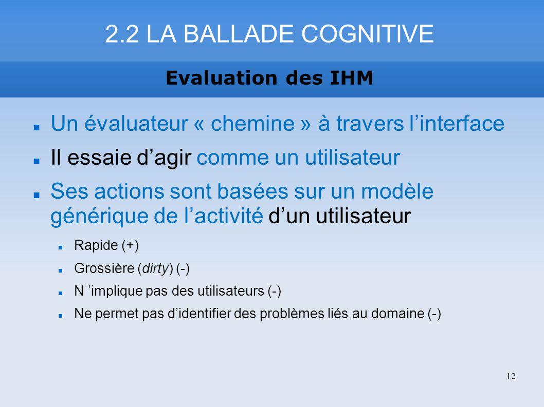 Un évaluateur « chemine » à travers linterface Il essaie dagir comme un utilisateur Ses actions sont basées sur un modèle générique de lactivité dun u