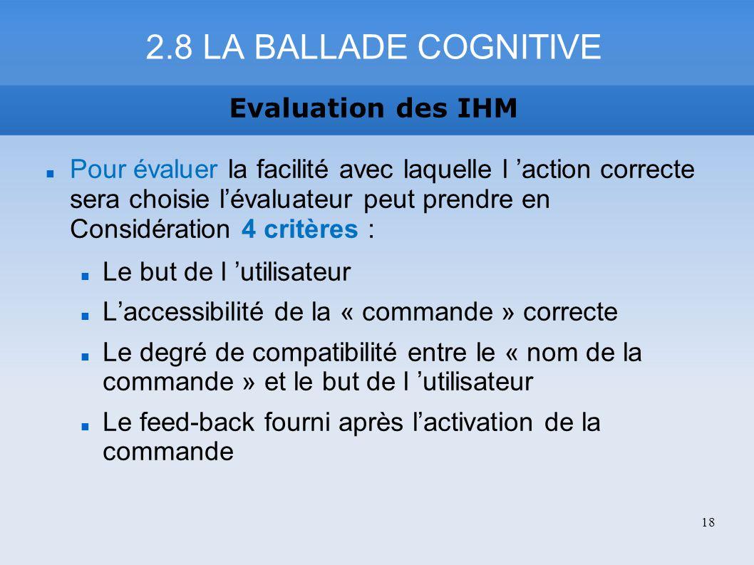 Pour évaluer la facilité avec laquelle l action correcte sera choisie lévaluateur peut prendre en Considération 4 critères : Le but de l utilisateur L