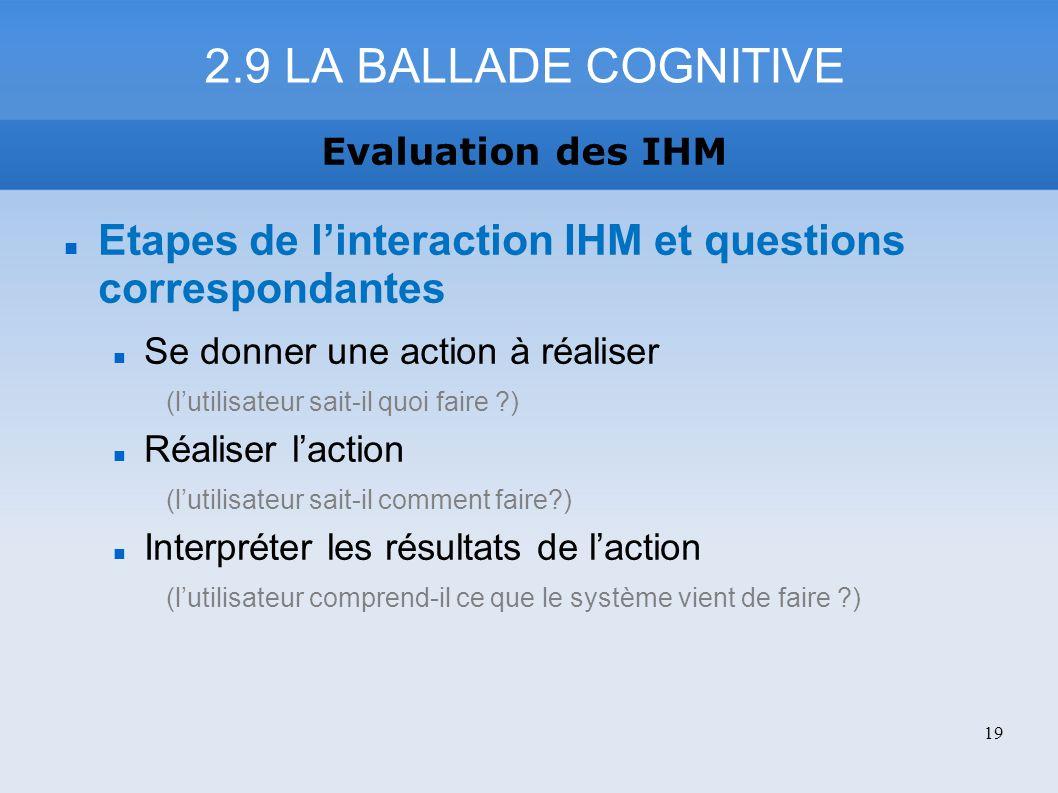Etapes de linteraction IHM et questions correspondantes Se donner une action à réaliser (lutilisateur sait-il quoi faire ?) Réaliser laction (lutilisa