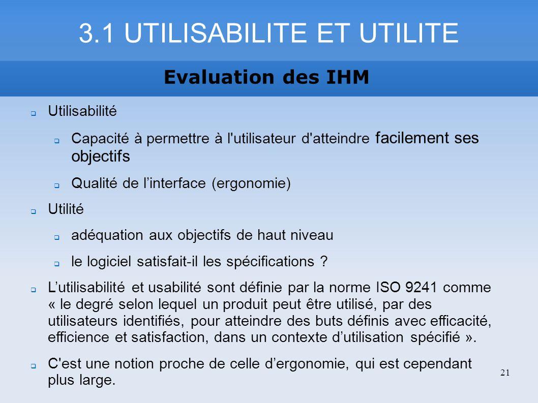 3.1 UTILISABILITE ET UTILITE Evaluation des IHM Utilisabilité Capacité à permettre à l'utilisateur d'atteindre facilement ses objectifs Qualité de lin