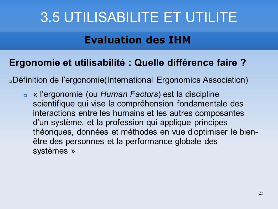 3.5 UTILISABILITE ET UTILITE Evaluation des IHM Ergonomie et utilisabilité : Quelle différence faire ? Définition de lergonomie(International Ergonomi