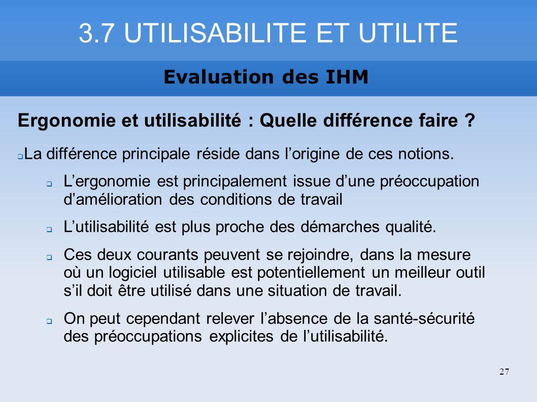 3.7 UTILISABILITE ET UTILITE Evaluation des IHM Ergonomie et utilisabilité : Quelle différence faire ? La différence principale réside dans lorigine d