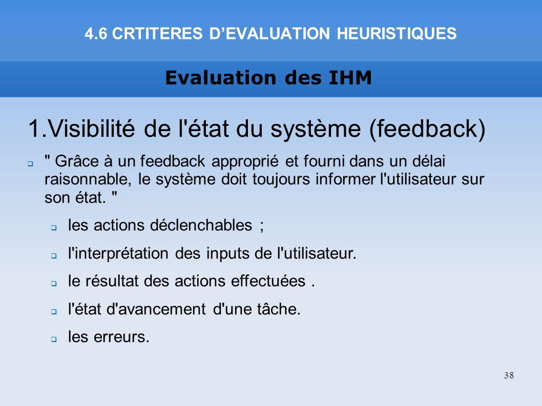 Evaluation des IHM 1.Visibilité de l'état du système (feedback)
