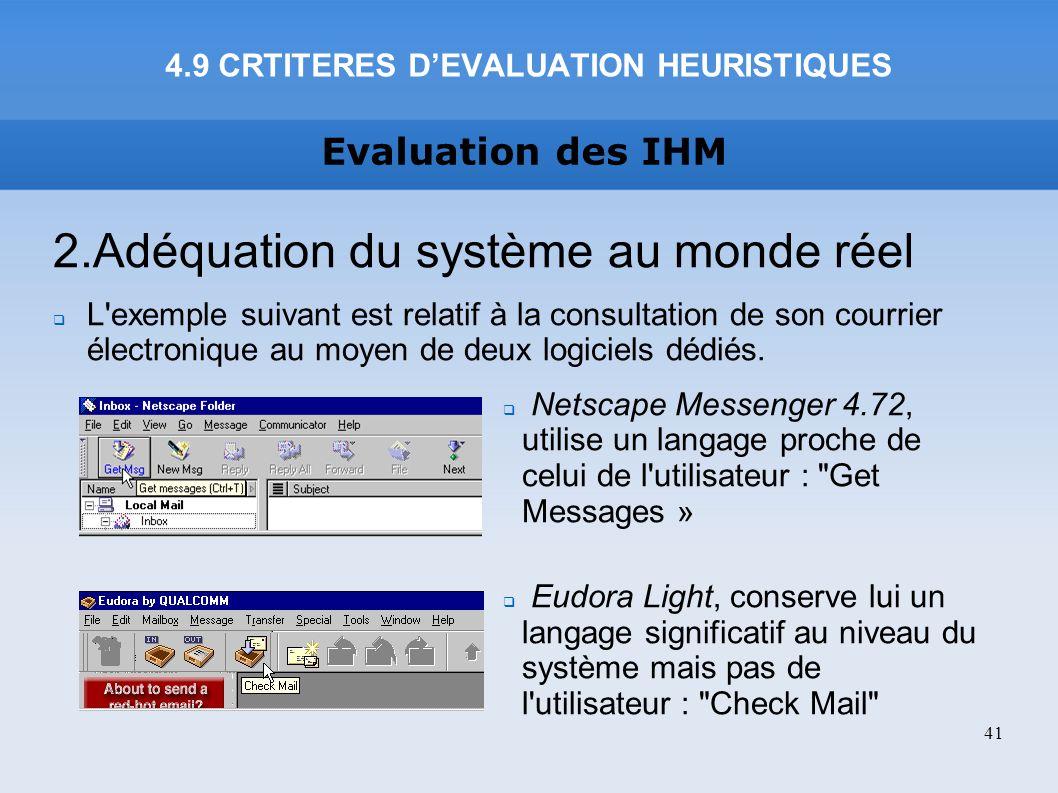 Evaluation des IHM 4.9 CRTITERES DEVALUATION HEURISTIQUES 41 2.Adéquation du système au monde réel L'exemple suivant est relatif à la consultation de