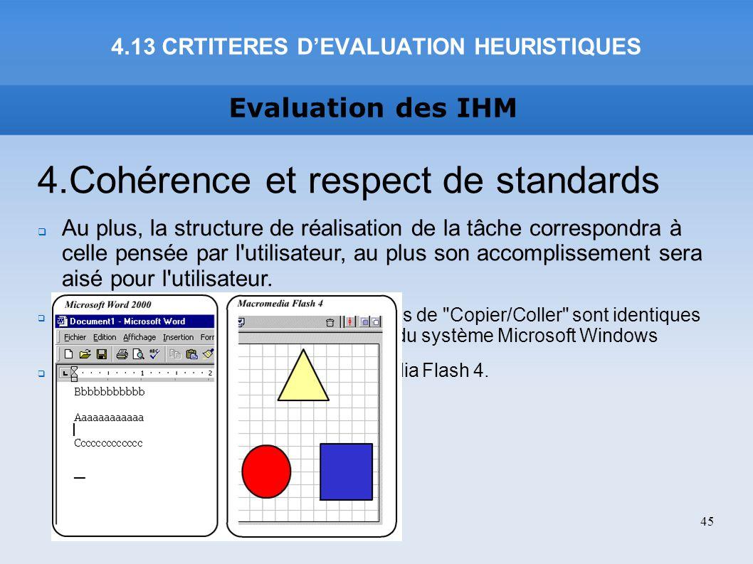 Evaluation des IHM 4.13 CRTITERES DEVALUATION HEURISTIQUES 45 4.Cohérence et respect de standards Au plus, la structure de réalisation de la tâche cor