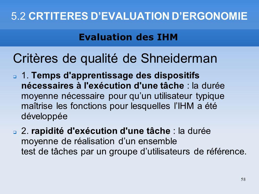 5.2 CRTITERES DEVALUATION DERGONOMIE Critères de qualité de Shneiderman 1. Temps d'apprentissage des dispositifs nécessaires à l'exécution d'une tâche