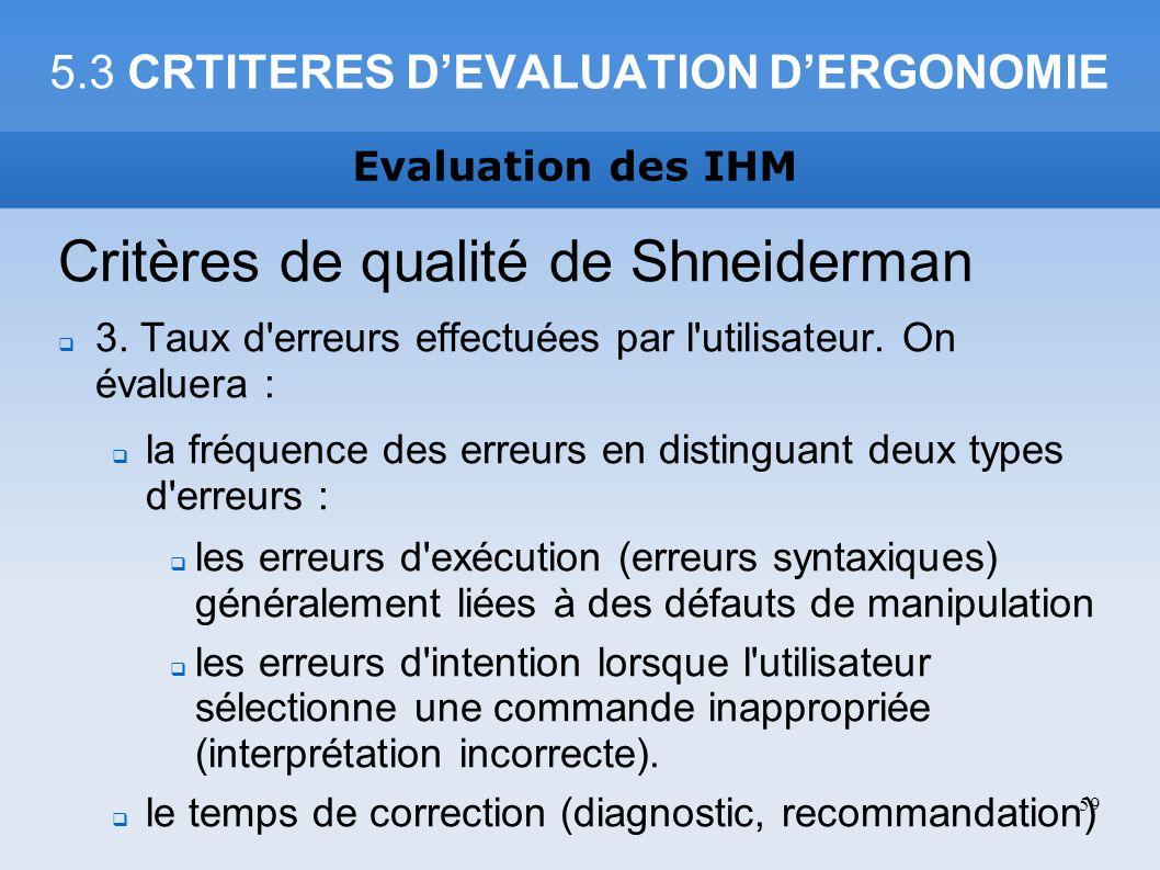 5.3 CRTITERES DEVALUATION DERGONOMIE Critères de qualité de Shneiderman 3. Taux d'erreurs effectuées par l'utilisateur. On évaluera : la fréquence des