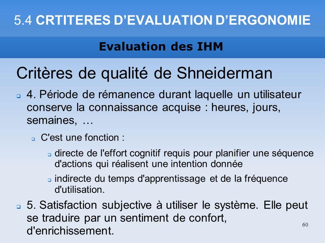 5.4 CRTITERES DEVALUATION DERGONOMIE Critères de qualité de Shneiderman 4. Période de rémanence durant laquelle un utilisateur conserve la connaissanc