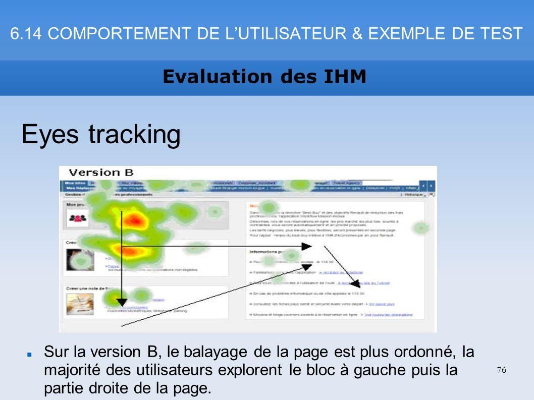 6.14 COMPORTEMENT DE LUTILISATEUR & EXEMPLE DE TEST Evaluation des IHM 76 Eyes tracking Sur la version B, le balayage de la page est plus ordonné, la