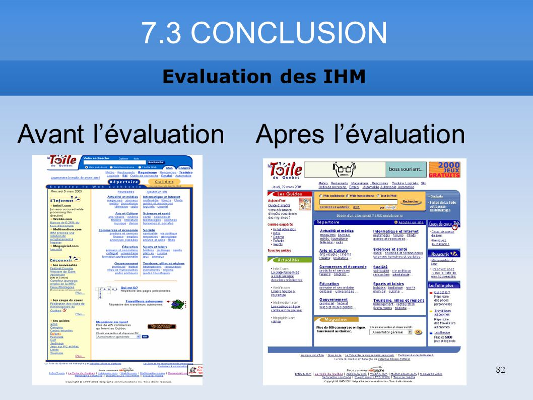 7.3 CONCLUSION Evaluation des IHM 82 Avant lévaluation Apres lévaluation