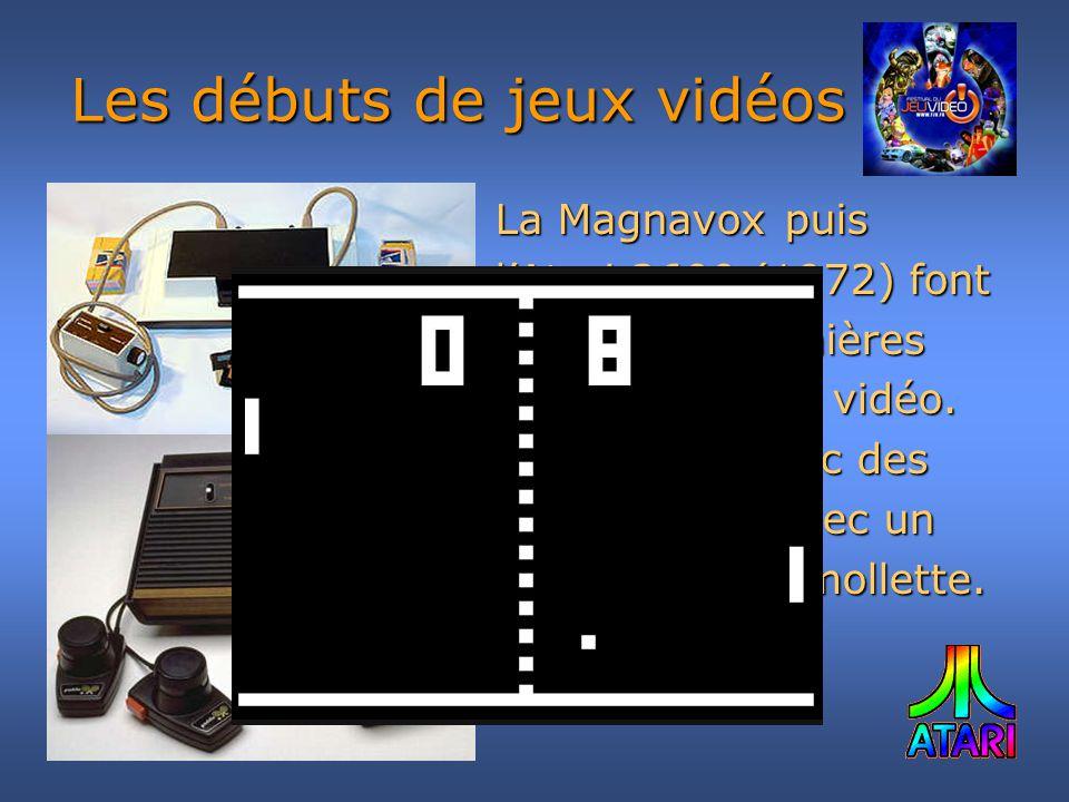 La Magnavox puis lAtari 2600 (1972) font partie des premières consoles de jeu vidéo. On y jouais avec des «manettes » avec un bouton et une mollette.