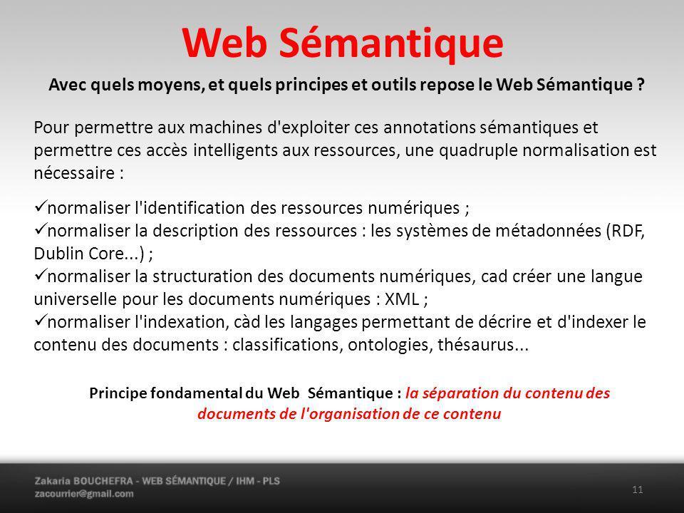 Web Sémantique Avec quels moyens, et quels principes et outils repose le Web Sémantique .