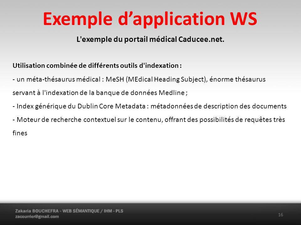 Exemple dapplication WS L exemple du portail médical Caducee.net.