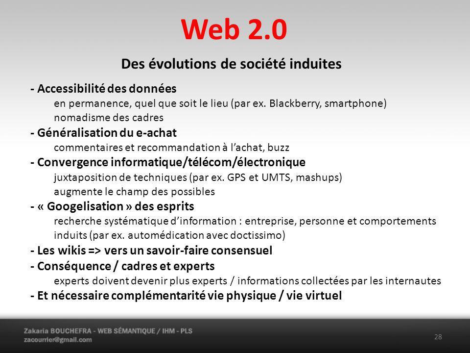 Web 2.0 28 Des évolutions de société induites - Accessibilité des données en permanence, quel que soit le lieu (par ex.