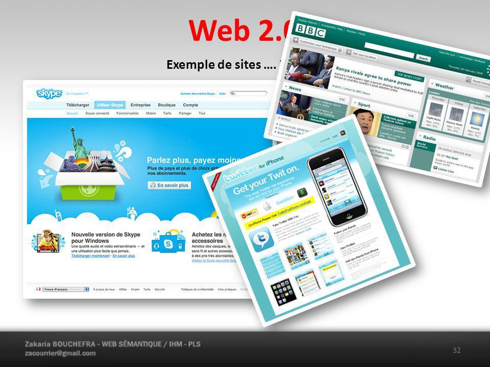 Web 2.0 32 Exemple de sites …. Web 2.0