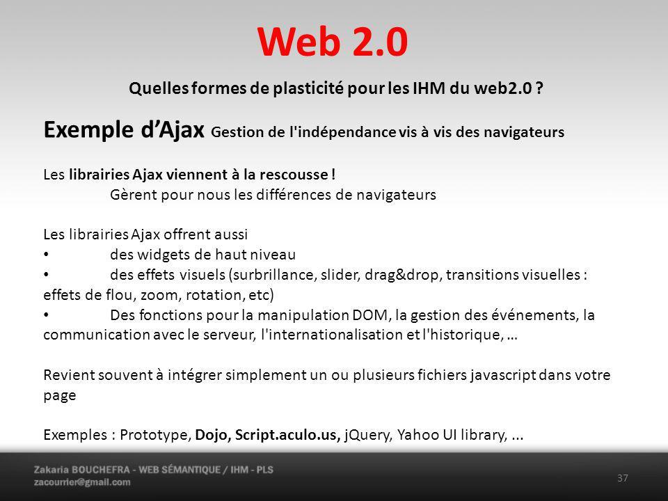 Web 2.0 37 Quelles formes de plasticité pour les IHM du web2.0 .