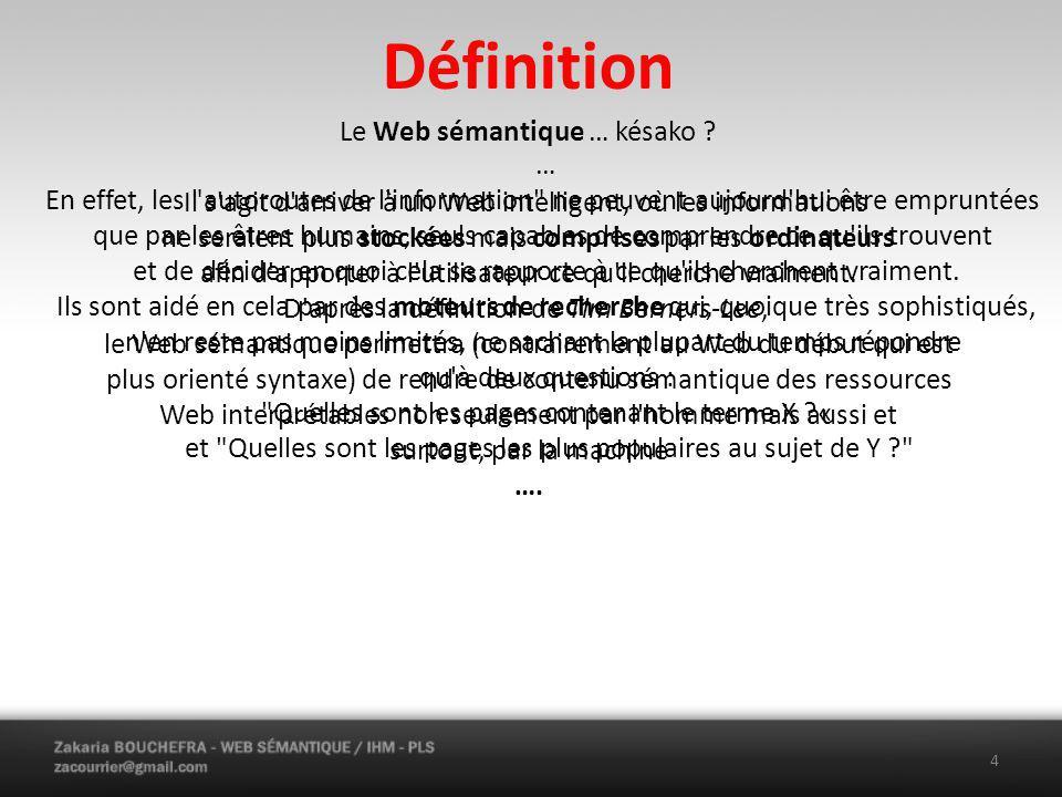 Historique La notion de métadonnées utilisables par les machines fut proposée assez tôt dans l histoire du Web, dès 1994 par son inventeur Tim Berners-Lee, lors de la conférence WWW 94 où fut annoncée la création du W3C.