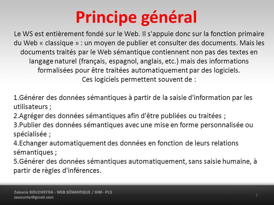 Principe général Le WS est entièrement fondé sur le Web.