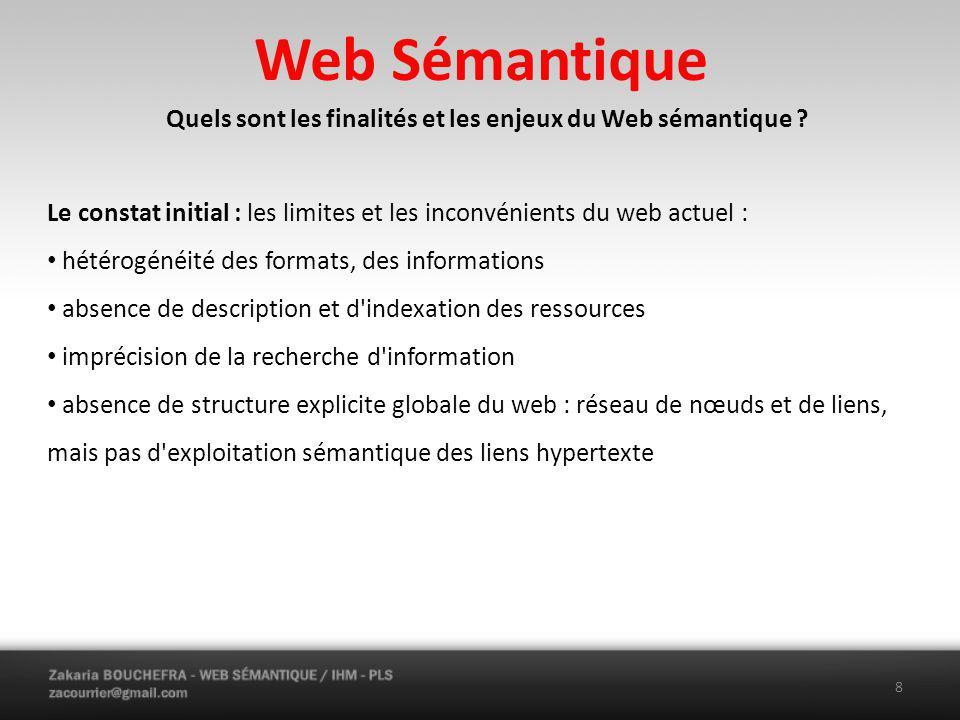 Web Sémantique Quels sont les finalités et les enjeux du Web sémantique .