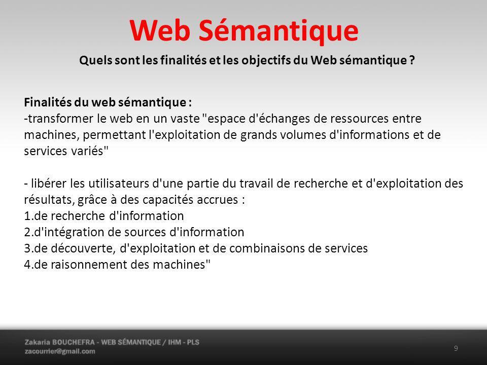 Web Sémantique Quels sont les finalités et les objectifs du Web sémantique .