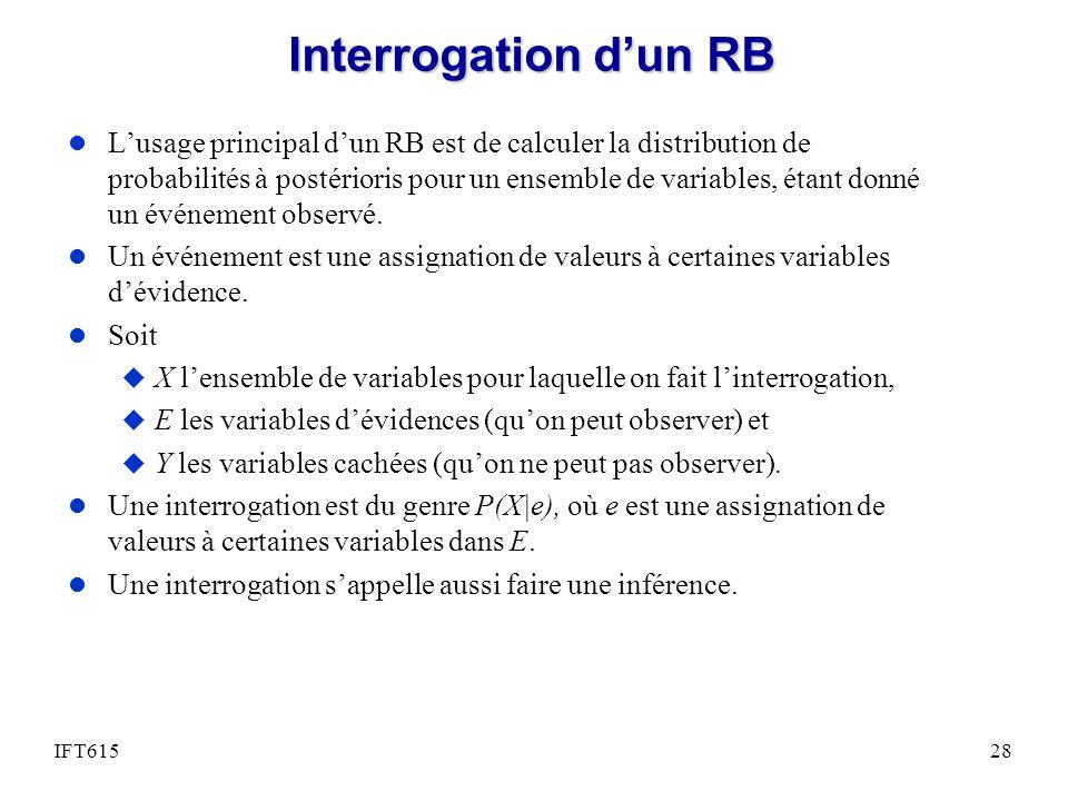 Interrogation dun RB l Lusage principal dun RB est de calculer la distribution de probabilités à postérioris pour un ensemble de variables, étant donn