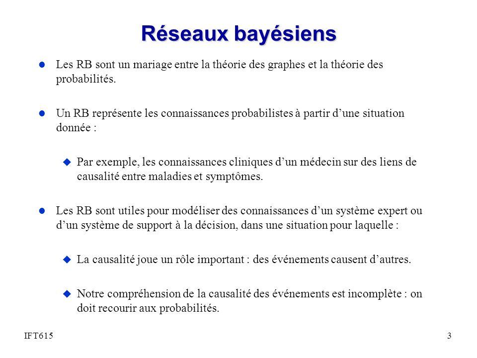 Réseaux bayésiens l Les RB sont un mariage entre la théorie des graphes et la théorie des probabilités. l Un RB représente les connaissances probabili