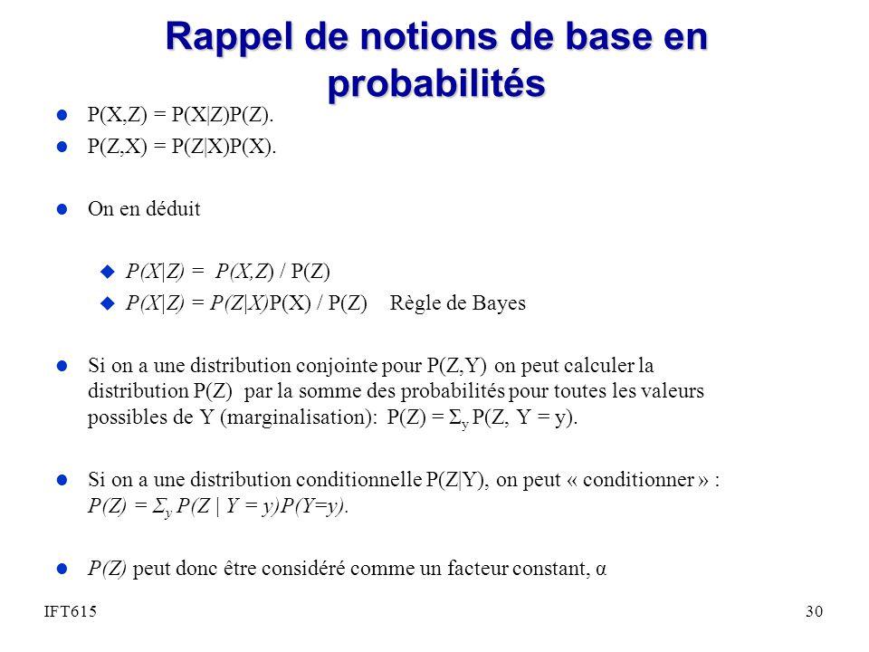 Rappel de notions de base en probabilités l P(X,Z) = P(X|Z)P(Z). l P(Z,X) = P(Z|X)P(X). l On en déduit u P(X|Z) = P(X,Z) / P(Z) u P(X|Z) = P(Z|X)P(X)