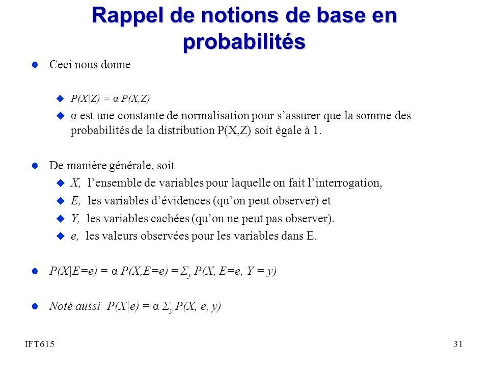 Rappel de notions de base en probabilités l Ceci nous donne u P(X|Z) = α P(X,Z) u α est une constante de normalisation pour sassurer que la somme des probabilités de la distribution P(X,Z) soit égale à 1.