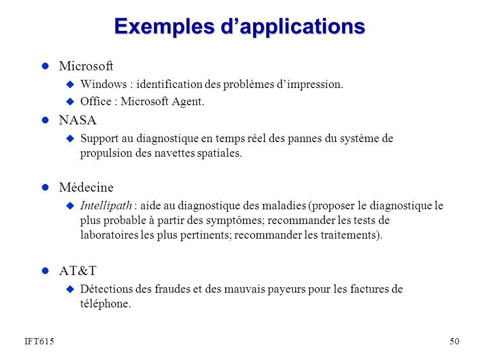 Exemples dapplications l Microsoft u Windows : identification des problèmes dimpression. u Office : Microsoft Agent. l NASA u Support au diagnostique