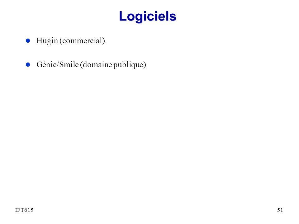Logiciels l Hugin (commercial). l Génie/Smile (domaine publique) IFT61551