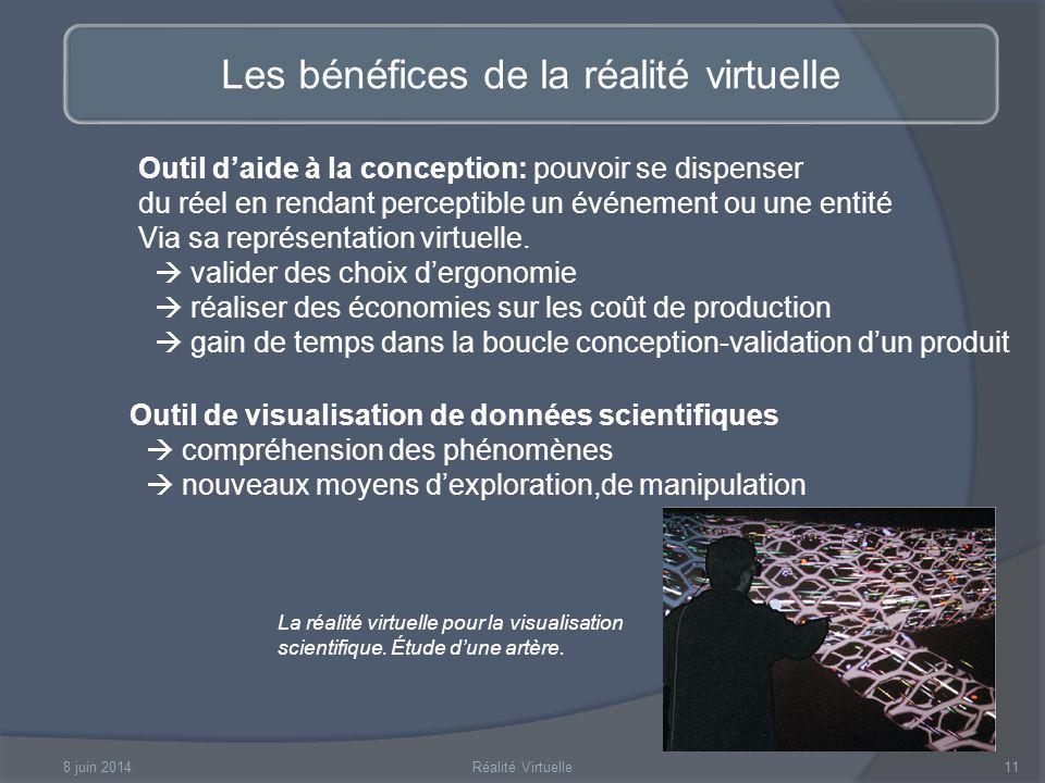 8 juin 2014Réalité Virtuelle11 Les bénéfices de la réalité virtuelle Outil daide à la conception: pouvoir se dispenser du réel en rendant perceptible un événement ou une entité Via sa représentation virtuelle.