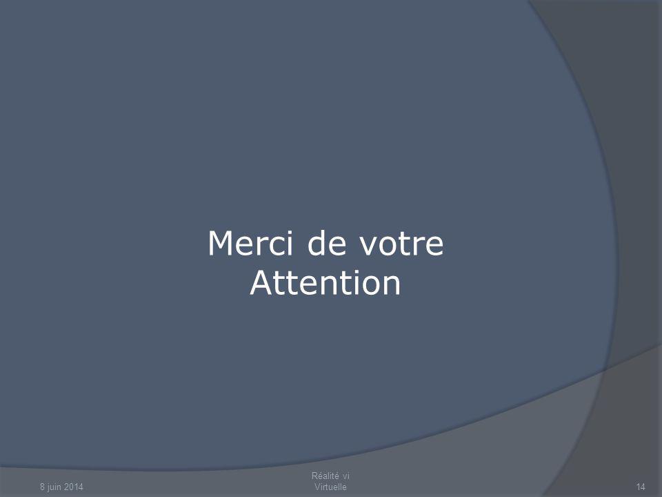 8 juin 2014 Réalité vi Virtuelle14 Merci de votre Attention