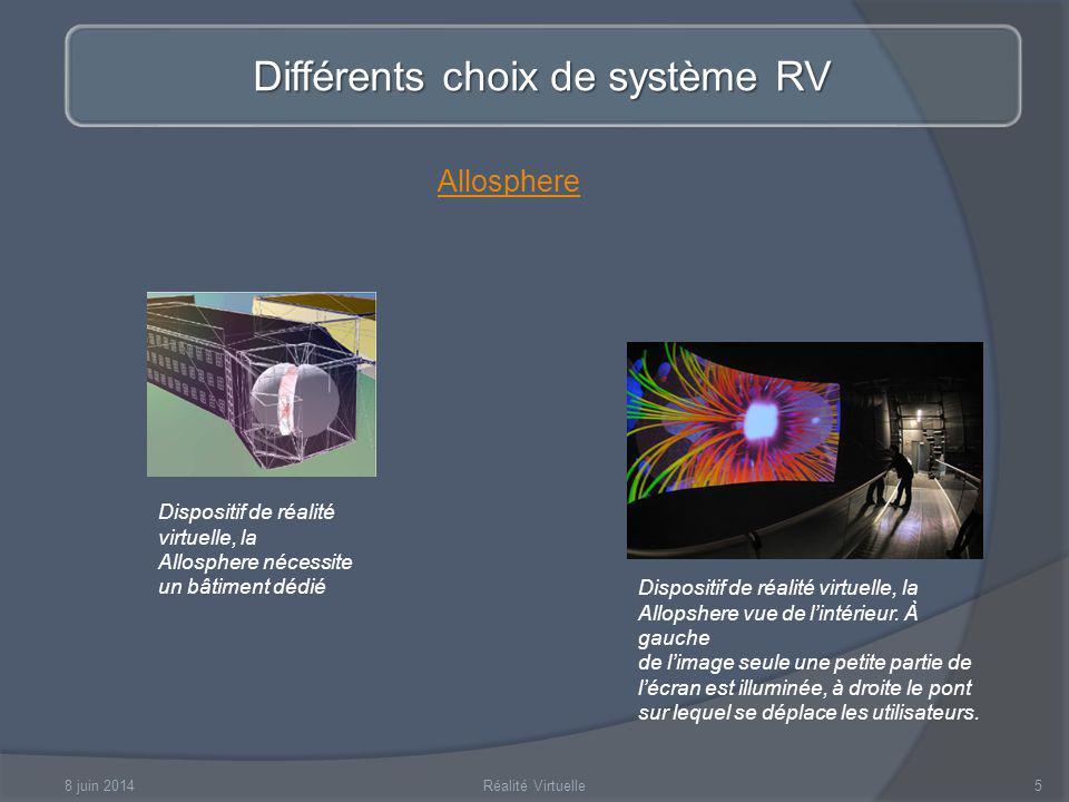 8 juin 2014Réalité Virtuelle5 Différents choix de système RV Dispositif de réalité virtuelle, la Allosphere nécessite un bâtiment dédié Dispositif de réalité virtuelle, la Allopshere vue de lintérieur.