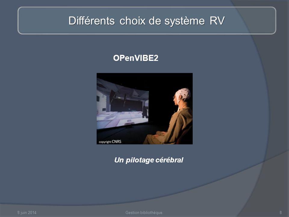 8 juin 2014Réalité Virtuelle9 La réalité virtuelle à la croisée des chemins Linformatique et lalgorithmique : générer des environnements Virtuels toujours plus réalistes, et plus complets - synthèse dimages.