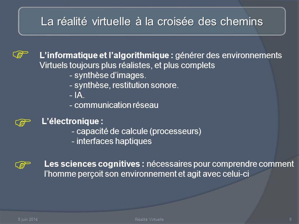 8 juin 2014Réalité Virtuelle10 La réalité virtuelle à la croisée des chemins Lergonomie : - schémas dinteraction intuitifs - métaphores dinteraction Les arts : afin dapporter design et esthétisme aux environnements, et ainsi augmenter lintérêt de lexpérience