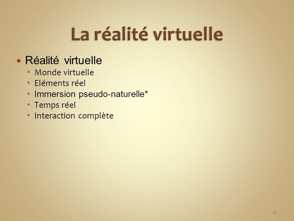 Réalité virtuelle Monde virtuelle Eléments réel Immersion pseudo-naturelle* Temps réel Interaction complète 12