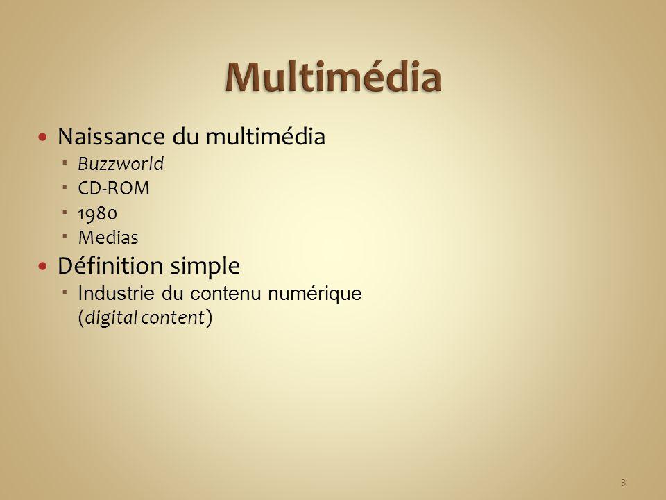 Naissance du multimédia Buzzworld CD-ROM 1980 Medias Définition simple Industrie du contenu numérique ( digital content) 3