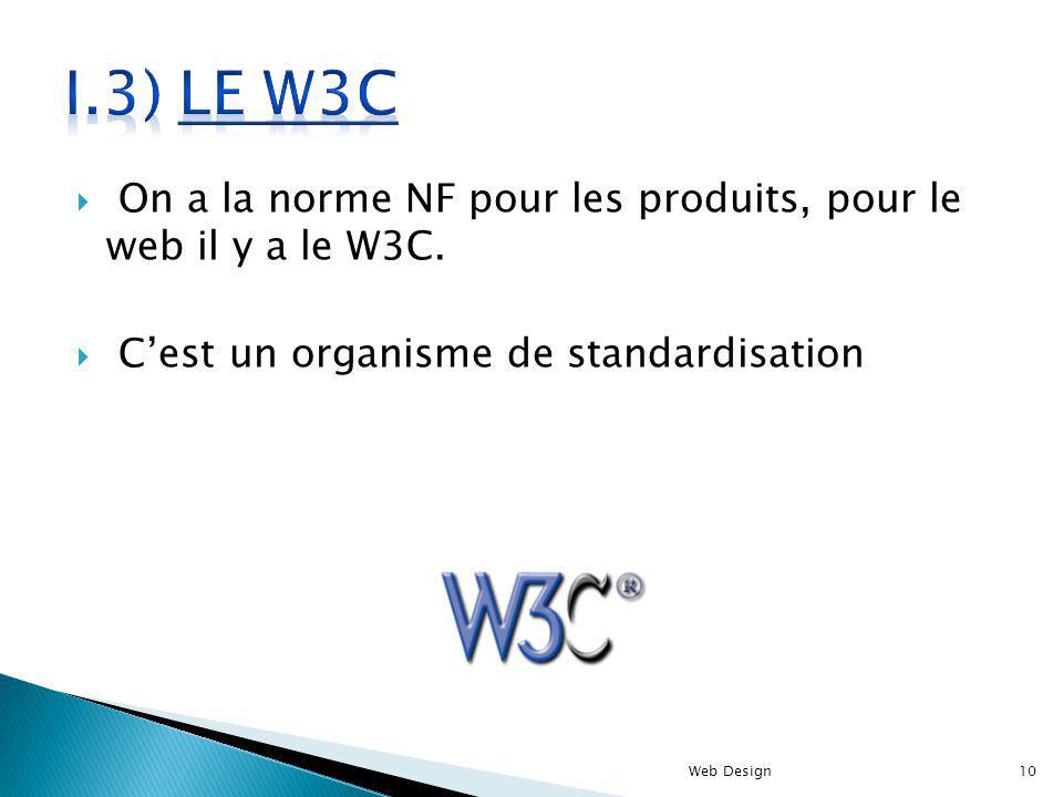 On a la norme NF pour les produits, pour le web il y a le W3C. Cest un organisme de standardisation Web Design10
