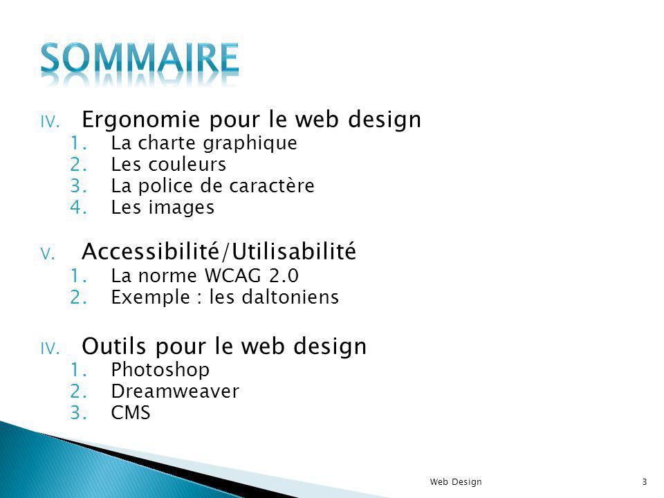 IV. Ergonomie pour le web design 1.La charte graphique 2.Les couleurs 3.La police de caractère 4.Les images V. Accessibilité/Utilisabilité 1.La norme