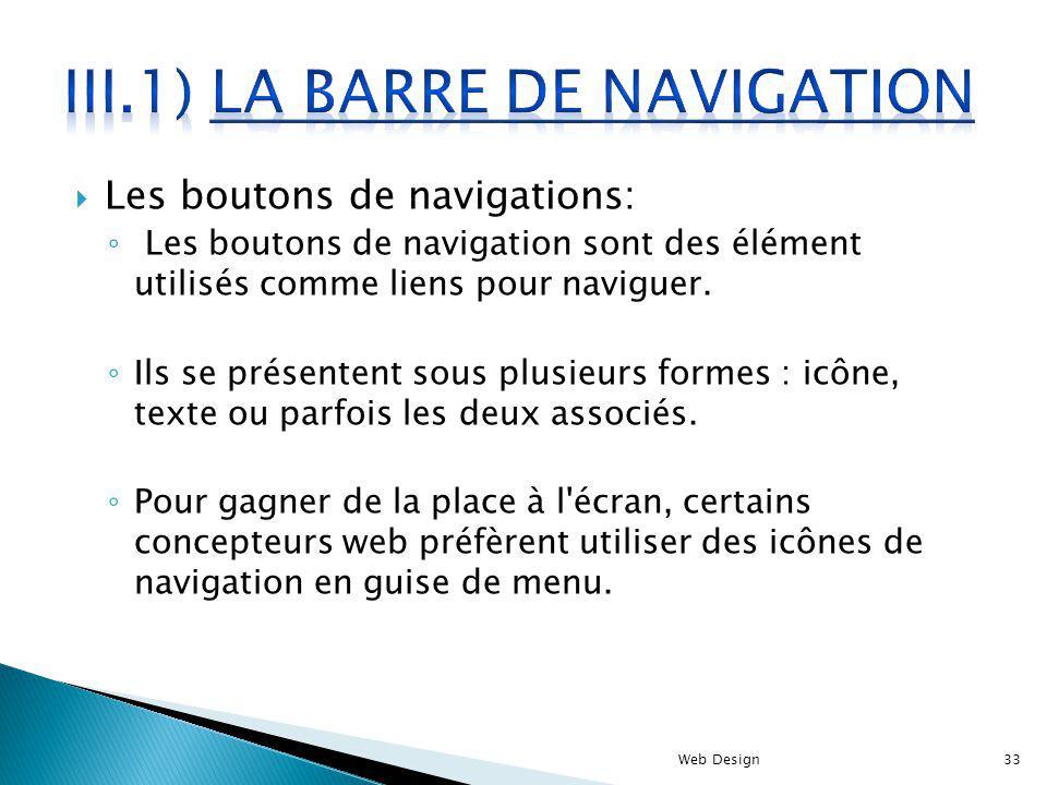 Les boutons de navigations: Les boutons de navigation sont des élément utilisés comme liens pour naviguer. Ils se présentent sous plusieurs formes : i