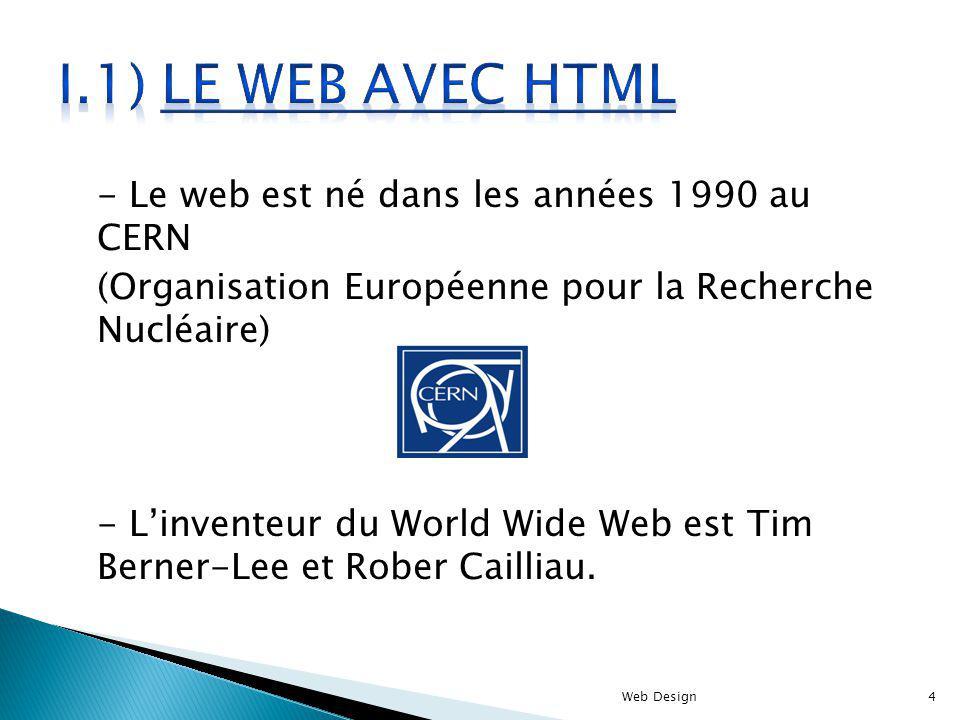 - Le web est né dans les années 1990 au CERN (Organisation Européenne pour la Recherche Nucléaire) - Linventeur du World Wide Web est Tim Berner-Lee e