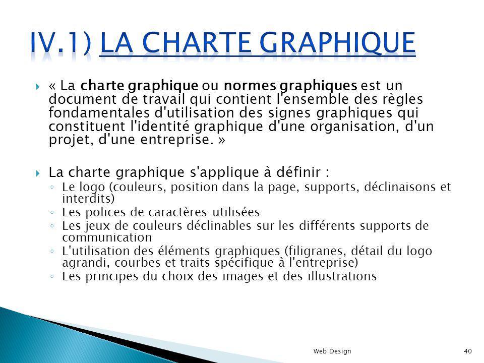 « La charte graphique ou normes graphiques est un document de travail qui contient l'ensemble des règles fondamentales d'utilisation des signes graphi