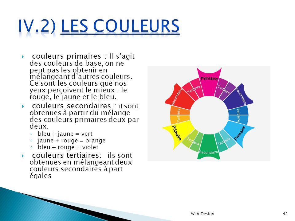 couleurs primaires : Il sagit des couleurs de base, on ne peut pas les obtenir en mélangeant dautres couleurs. Ce sont les couleurs que nos yeux perço