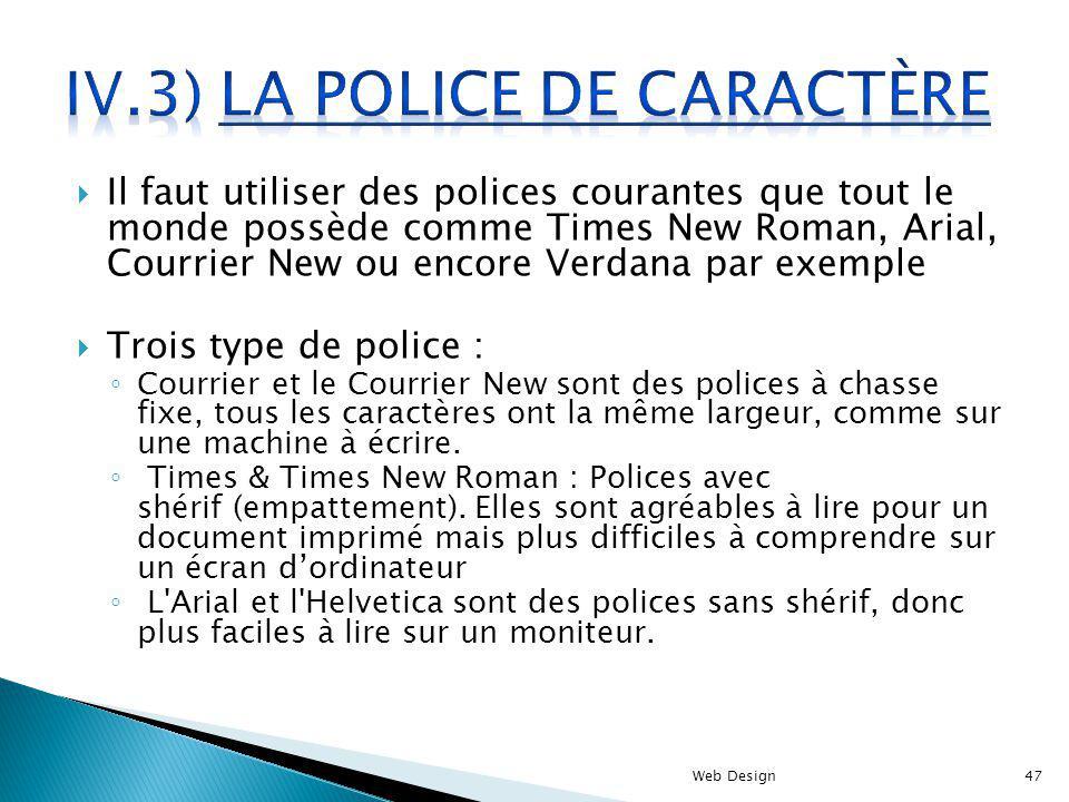 Il faut utiliser des polices courantes que tout le monde possède comme Times New Roman, Arial, Courrier New ou encore Verdana par exemple Trois type d