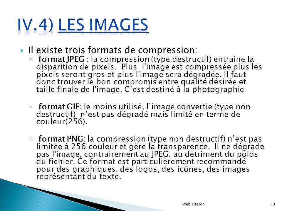 Il existe trois formats de compression: format JPEG : la compression (type destructif) entraine la disparition de pixels. Plus l'image est compressée